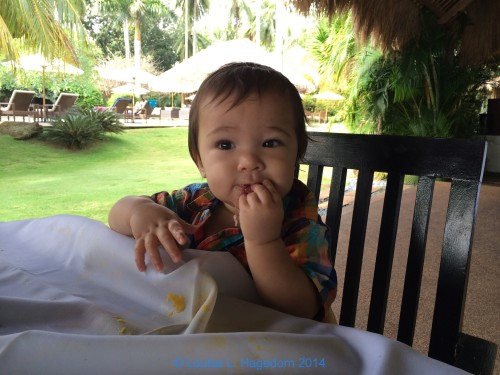 Asher having breakfast.