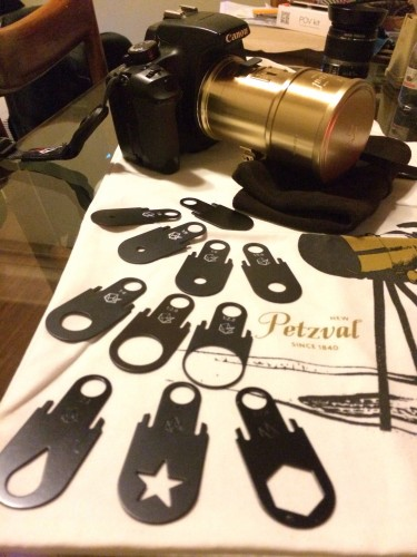 Petzval Lens with the included apertures, leather case, and freebie cotton bag