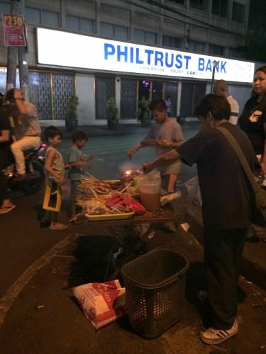 BBQ vendor at the corner of M.H. del Pilar  and Remedios Streets