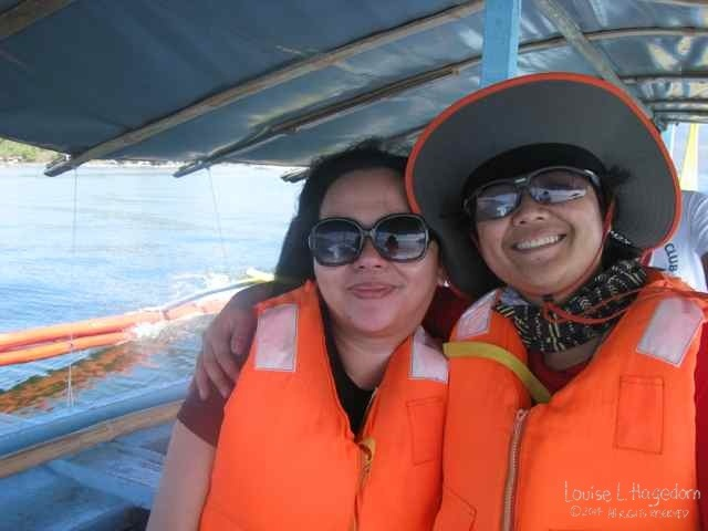 Liza and Mars using the cool life jackets from Taal Lake Yacht Club